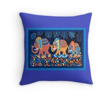 Elephant Conga Cushion and Card Design Throw Pillow