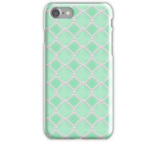 Luxury background with pearls. Silk satin. Pastel, gentle turquoise iPhone Case/Skin