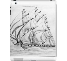 Graphite  Pencil Drawing of a Clipper Ship at Top Speed iPad Case/Skin