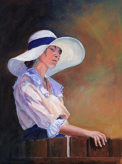 Girl in white Hat by Maureen Whittaker