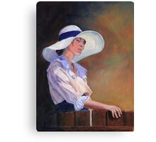 Girl in white Hat Canvas Print