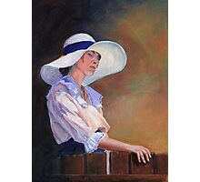 Girl in white Hat Photographic Print