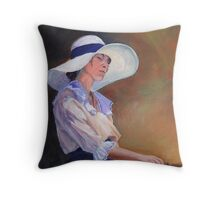 Girl in white Hat Throw Pillow