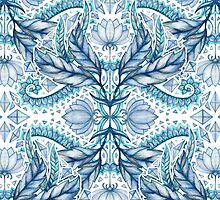 Lily, Leaf & Triangle Pattern - blues by micklyn
