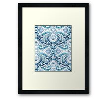 Lily, Leaf & Triangle Pattern - blues Framed Print