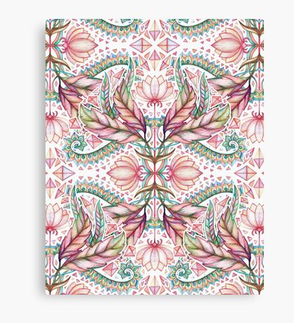 Lily, Leaf & Triangle Pattern - multi-color version Canvas Print