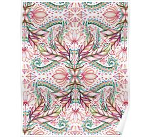 Lily, Leaf & Triangle Pattern - multi-color version Poster