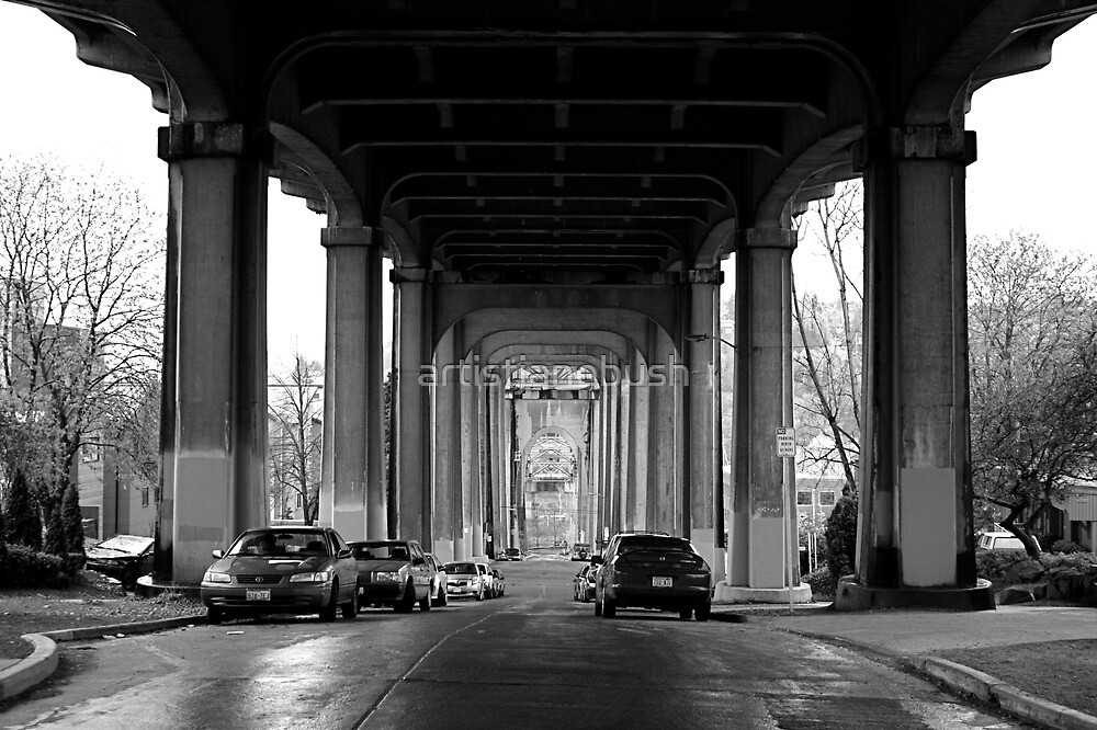 Under The Fremont Bridge Downtown by artistjanebush