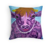 Pearl the Purple Cow Throw Pillow