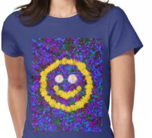 Happy Smiley Face Bright Dandelion Flowers  Womens Fitted T-Shirt