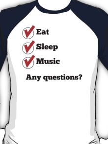 Eat Sleep Music Checklist T-Shirt