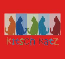 Kitsch Cats Silhouette Cat Collage On Pastel Background One Piece - Short Sleeve
