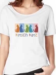 Kitsch Cats Silhouette Cat Collage On Pastel Background Women's Relaxed Fit T-Shirt