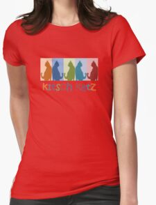 Kitsch Cats Silhouette Cat Collage On Pastel Background Womens Fitted T-Shirt