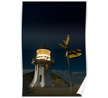 Cape Reinga lighthouse at night 7 Poster