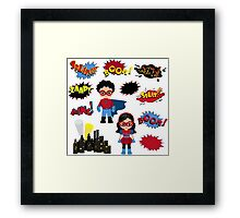 Colorful cartoon text captions. Explosions and noises. Super Boy and Super Girl. Framed Print