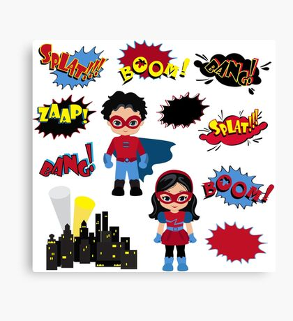 Colorful cartoon text captions. Explosions and noises. Super Boy and Super Girl. Canvas Print
