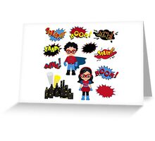 Colorful cartoon text captions. Explosions and noises. Super Boy and Super Girl. Greeting Card