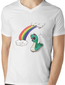 Cute snake with RAINBOW! Mens V-Neck T-Shirt