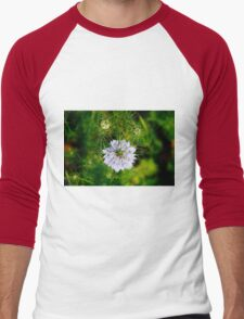 Blue Nigella Flower Men's Baseball ¾ T-Shirt