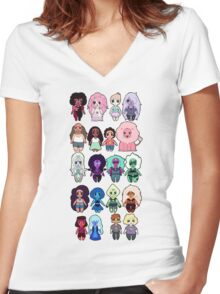 Steven Universe Cast in Chibi Style Women's Fitted V-Neck T-Shirt