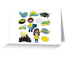 Colorful cartoon text captions.  Super Boy and Super Girl. Greeting Card