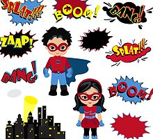 Colorful cartoon text captions. Explosions and noises. Super Boy and Super Girl. by Sandytov