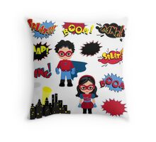 Colorful cartoon text captions. Explosions and noises. Super Boy and Super Girl. Throw Pillow