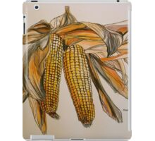 Drying sweetcorn, Tuscany. Pen and wash. Framed. 42x32cm iPad Case/Skin