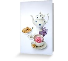 Still life with teapot and almond and rose paste filled cookies Greeting Card