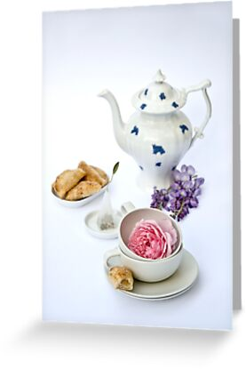 Still life with teapot and almond and rose paste filled cookies by Ilva Beretta