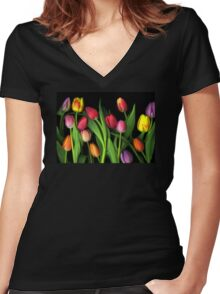 Colorful Tulips Women's Fitted V-Neck T-Shirt