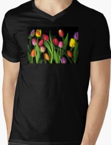 Colorful Tulips Mens V-Neck T-Shirt