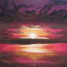 Fiery Sunset by Leslie Gustafson