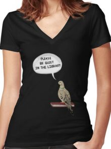 Hatoful Boyfriend - Please Be Quiet In The Library (Nageki) Women's Fitted V-Neck T-Shirt