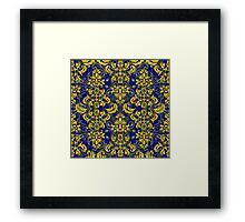 Blue and Yellow Damask and Vines Framed Print