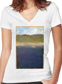 Abstract Dunes Women's Fitted V-Neck T-Shirt