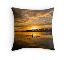 Sunrise rowing Throw Pillow