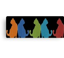 Reflected Images Of A Line Of Cats on Black Canvas Print