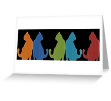 Reflected Images Of A Line Of Cats on Black Greeting Card