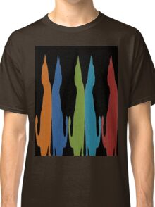 Reflected Images Of A Line Of Cats on Black Classic T-Shirt