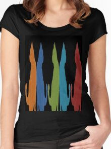 Reflected Images Of A Line Of Cats on Black Women's Fitted Scoop T-Shirt