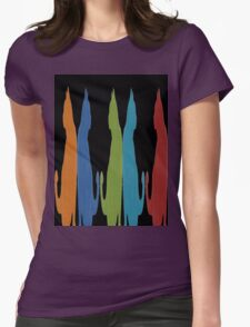 Reflected Images Of A Line Of Cats on Black Womens Fitted T-Shirt