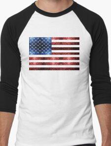 USA flag red & blue sparkles Men's Baseball ¾ T-Shirt