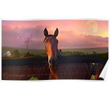 Horse with Pastel Sky Poster