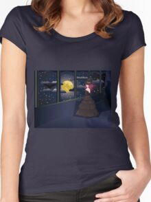 Witch on Balcony Women's Fitted Scoop T-Shirt