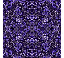 Purple Damask and Vines Photographic Print