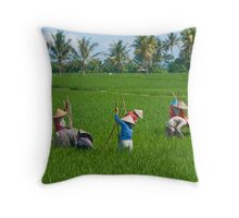 Weeding the Padi Throw Pillow