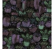 Mint and Lavender Retro Flower Pattern Photographic Print