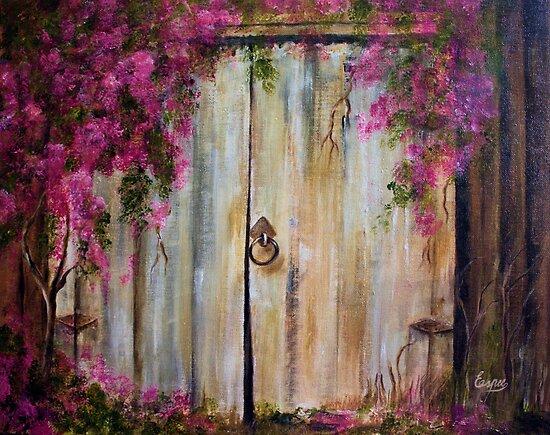 Door to my Garden in Acrylic by Esperanza Gallego